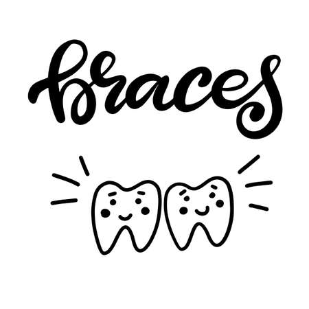 Lettering illustration about dental health care with the image of braces on teeth. EPS10. Vector image of the stages of orthodontic treatment for posters for dental clinic.