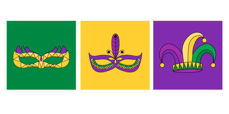 Vector hand drawn lettering illustration eps10 for Mardi gras carnival poster, brochure, logo, greeting card, party invitation with fat tuesday mask with feathers in purple, gold, yellow, green colors.