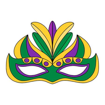 Illustration de lettrage dessiné à la main de vecteur eps10 pour affiche de carnaval de Mardi gras, brochure, logo, carte de voeux, invitation à une fête avec gros masque de mardi avec des plumes en violet, or, jaune, vert.