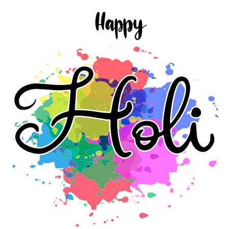 Lettering illustration for Indian Happy holi festival of colours. Vector EPS10 in calligraphy style with powder paint splash elements for logo, greeting card, banner, invitation  design