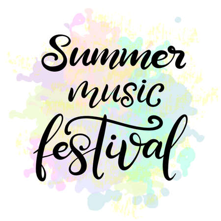 Music festival lettering vector illustration with acoustic guitar. Modern calligraphy style template for poster, banner, flyer, ticket, event program, brochure for summer open air rock, pop or jazz concert. EPS10
