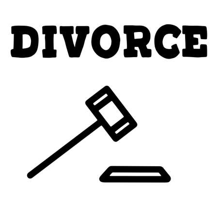 Family problem of husband and wife, break up and alimony issue. Vector lettering illustration with hammer of justice. Eps10. Vettoriali