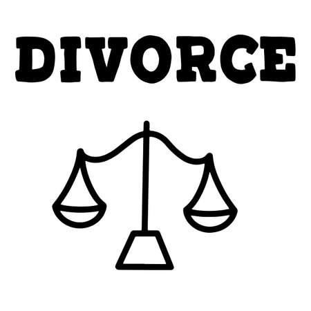 Problème familial du mari et de la femme, rupture et problème de pension alimentaire. Illustration de lettrage de vecteur avec la balance de la justice. Eps10.
