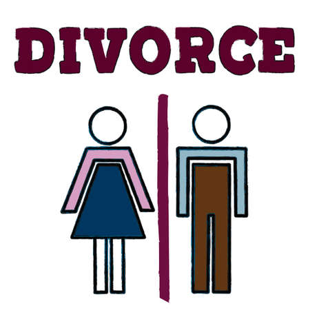 A divorced couple with man and woman silhouettes separated and divided. Family problem  of husband and wife, break up and alimony issue. Vector lettering illustration eps10.