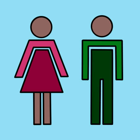 A couple with man and woman silhouettes. Sign with family of husband and wife. Vector illustration wc toilet sign for bathroom eps10. Flat icon isolated in black and white color. Vectores