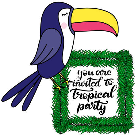 Toucan with tropical leaves lettering vector illustration. Template for summer sale banner, party invitation card, poster, print with exotic bird and palm tree leaf. EPS10