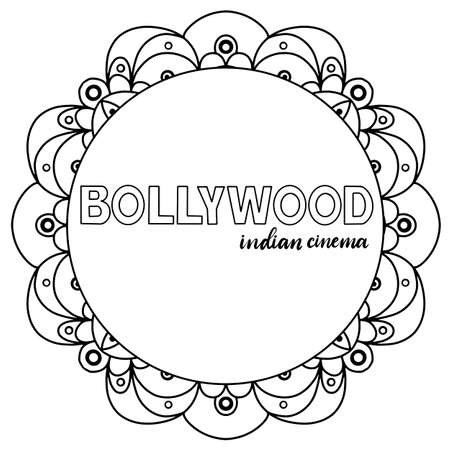 Bollywood indian cinema. Movie banner, logotype, film poster in retro stylewith neon lights. Lettering vector illustration EPS10.