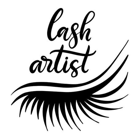 Lashes lettering vector illustration for beauty salon, fashion blog, logo, false eyelashes extensions maker, brow master, professional makeup artist. EPS10 Stock fotó - 121859863