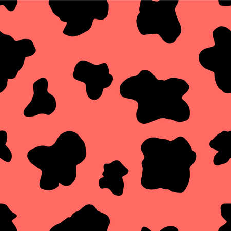 Cow skin seamless pattern vector illustration EPS10. Leather with spots texture ornament. Animal print background.