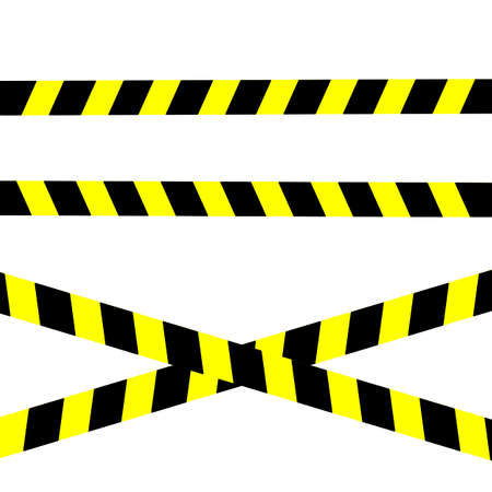 Police stripe caution border. Set of under construction, stop, do not cross, danger line warning tape ribbon. EPS 10 vector