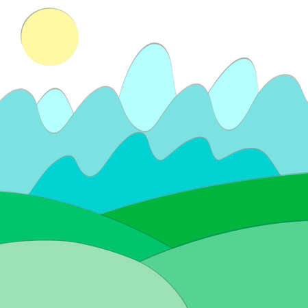 Landscape view of green fields, meadows, mountains, forest and sun. Country background in flat cartoon style with paper cut style for card, poster, wallpaper, banner. EPS 10 vector illustration. Иллюстрация