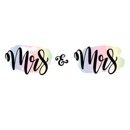 Lgbt pride lettering for same gender marriage. Vector illustration for wedding invitation, save the date welcome cards in rainbow colors. EPS10