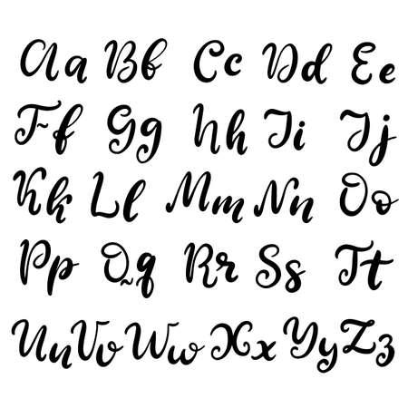 Alphabet in English. Hand drawn typeface, lettering script font. Letters handwritten in modern calligraphy style for design, poster, print. Vector illustration EPS10. Ilustração Vetorial