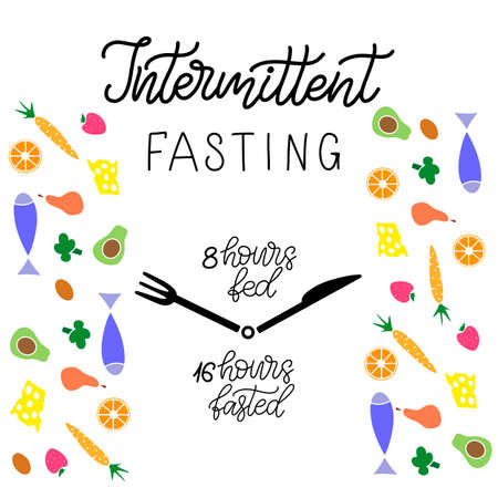 Intermittent Fasting inscription with icon of clock like plate with knife and fork. Weight loss and healthy eating theme banner. Handwritten lettering in modern calligraphy and flat style. Vector Illustration EPS10
