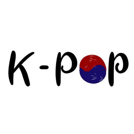 K-pop. Korean popular music style. South Korea flag. K pop Hand drawn lettering for banner, print, postcard, poster, sticker, logo. Vector illustration