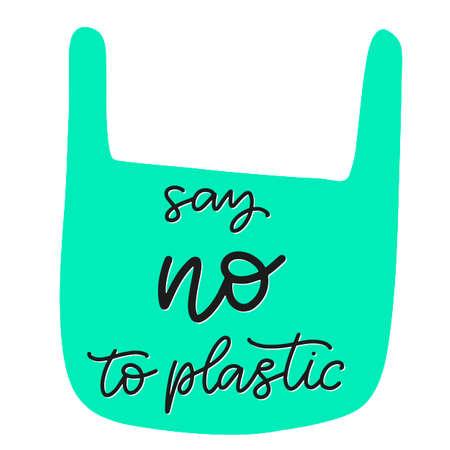 Happy Earth day vector illustration. Save the planet, no more plastic bag ecological awareness slogan. Calligraphy text. Vektoros illusztráció
