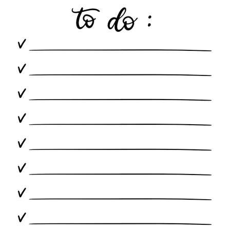 Hand drawn doodle set for Bullet journal vector illustration. Lettering and elements for notebook, diary, planner. Notes, wish, to do and bucket list. Check boxes with lines.