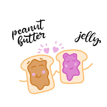 Hand drawn cartoon characters. You are the Peanut Butter to my Jelly. Happy Valentine's day lettering vector card. Typography poster with handwritten calligraphy text Ilustración de vector