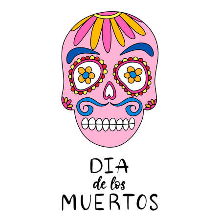 Dia de los moertos lettering with sugar skull. Day of the dead traditional Mexican holiday banner, poster, party invitation flyer, greeting card. Vector illustration eps10