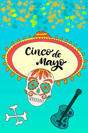 Cinco de Mayo Fiesta festival vector illustration. May 5, holiday in Mexico. Banner, party poster design with lettering, sugar skull, cactus and mexican guitar. Hand drawn phrase. Vectores