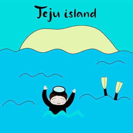 Jeju Korean island vector illustration. Travel to South korea. Welcome to Jeju in Korean language. Vacation in Asia. Flat abstract map. Aunt divers in the sea.