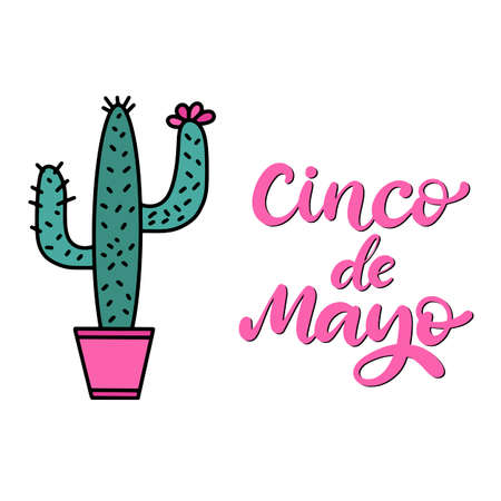 Cinco de Mayo Fiesta festival vector illustration. May 5, holiday in Mexico. Banner, party poster design with lettering, cactus. Hand drawn phrase.