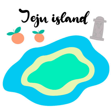 Jeju Korean island vector illustration. Travel to South korea. Welcome to Jeju in Korean language. Vacation in Asia. Flat abstract map. Aunt divers and stone statue of dol hareubang tourist attraction Vettoriali