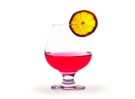 sommeliers: A glass of red and a slice of lemon on a white background. Isolation.