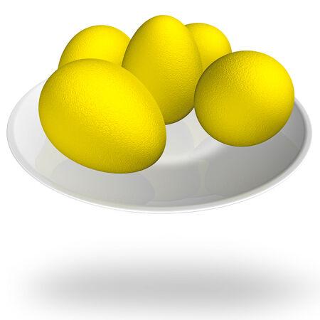 Golden eggs on a white platter, 3D illustration. illustration