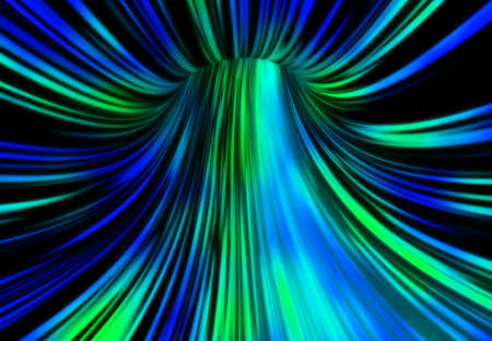 Abstract tunnel in blue and green tones. 3D rendering. photo