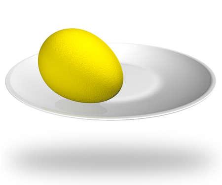 Golden egg on a white platter, 3D illustration. illustration