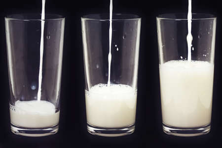 liter: Glasses of milk. Shooting a short exposure.