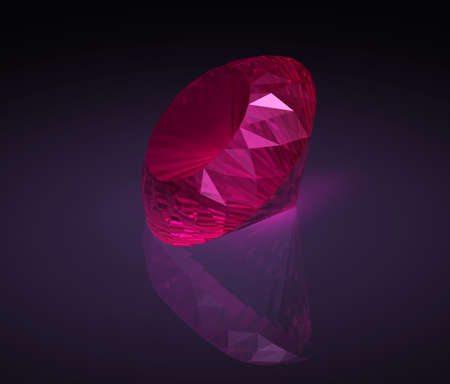 the caustic: Big red ruby on dark background with reflection and caustic.