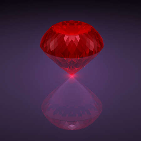 caustic: Big red diamond with reflection and caustic on a dark background. 3D rendering.