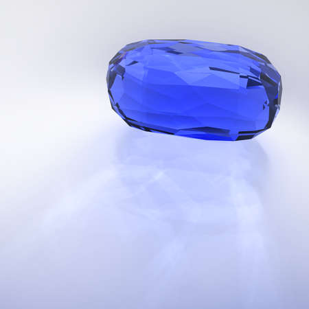the caustic: Big gemstone sapphire, with caustic on reflective surface. 3D rendering.