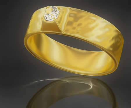 dispersion: Golden ring with a diamond. 3D rendering with caustic, without dispersion. Stock Photo