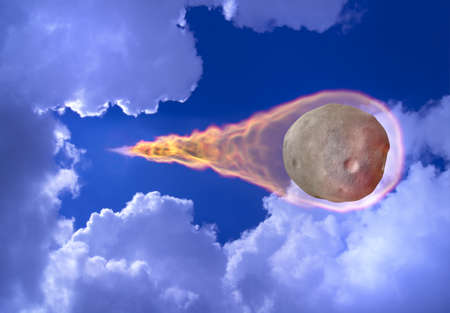 asteroid: Big asteroid falls from the sky leaving a trail of fire. 3D photo collage.