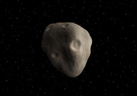 black stone: Big asteroid on a background of colored stars. 3D rendering. Stock Photo
