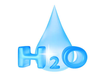text 3d: Drop of water with 3D text. 3D rendering.