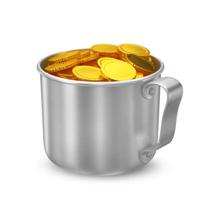 large group of object: The symbolic image of a metallic cup with gold coins without signs.