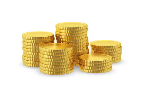 large group of object: Symbolic image of gold coins with no signs. 3D rendering.
