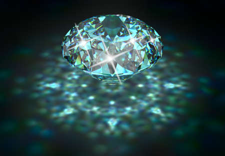 caustic: Big diamond with blue tint and caustic. 3D rendering.