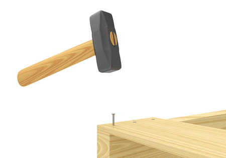 working stiff: The hammer nailed boards on white background. 3D rendering.