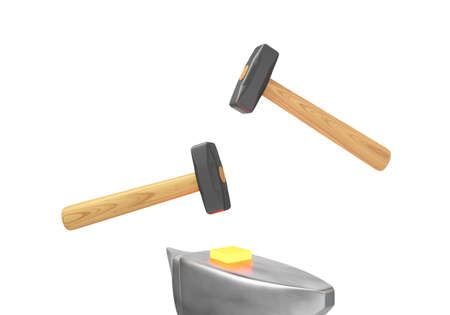 malleable: The symbolic image of two hammers and anvils to work on forging hot metal. 3D rendering. Stock Photo
