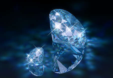 Two diamonds with a blue tint on the reflective surface with caustic. Stock Photo