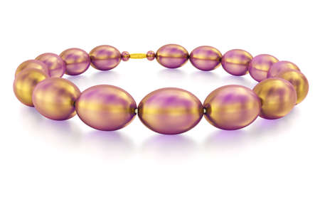 personal ornaments: Purple glass beads with gold sheen and reflection. 3D rendering.
