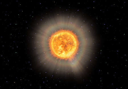 hidrógeno: Brillante estrella brillante con protuberancias en el espacio, como el sol u otro. Representación simbólica 3D.