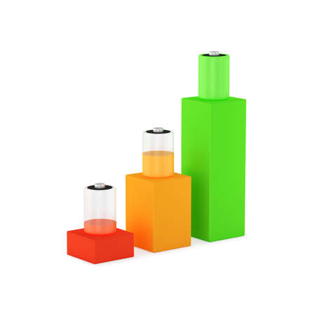 Symbolic image of three levels of battery charge. Contains light shadows. 3D rendering. Stock Photo
