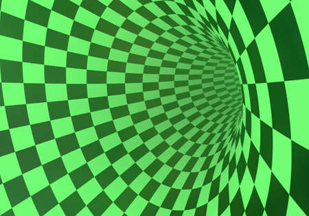 Abstract green checkered tunnel in a light fog. 3D rendering.