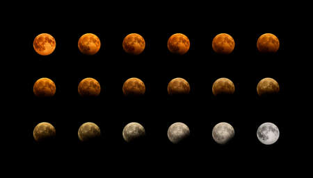 Partial eclipse of the red moon in different phases. Real photos of the eclipse on August 7, 2017. Stock Photo